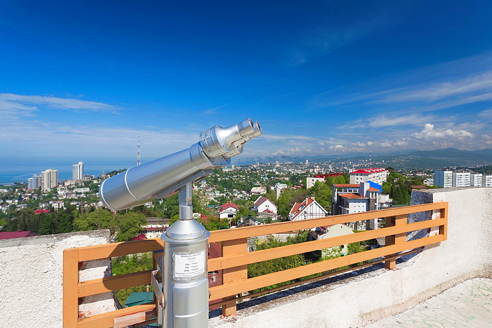 Russia, Black Sea Coast, Sochi, elevated city view from the Arboretum Park with binoculars