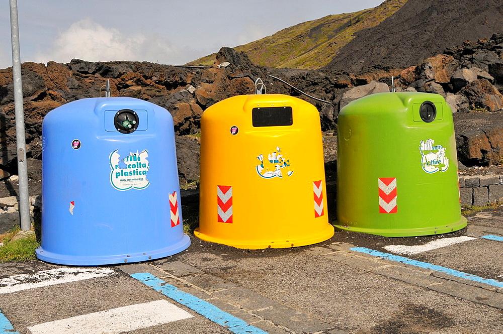 Recycling Containers Mt Etna Lava Rock Volcano Taormina Sicily Mediterranean Sea Island