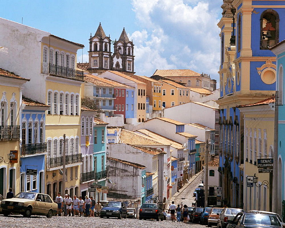 Restored facades at the Pelourinho (historical center), Salvador da Bahia, Brazil - 817-3237