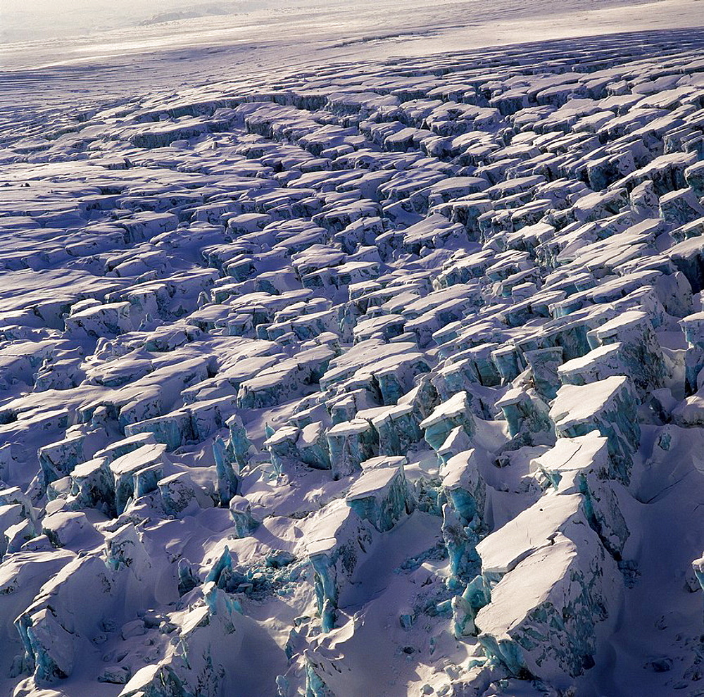 Crevasses in Sidujokull Glacier, Iceland Glacial surges- a glacier begins to move much faster then its normal velocity  This has caused the 1000 year old ice of Sidujokull glacier to crevice substantially