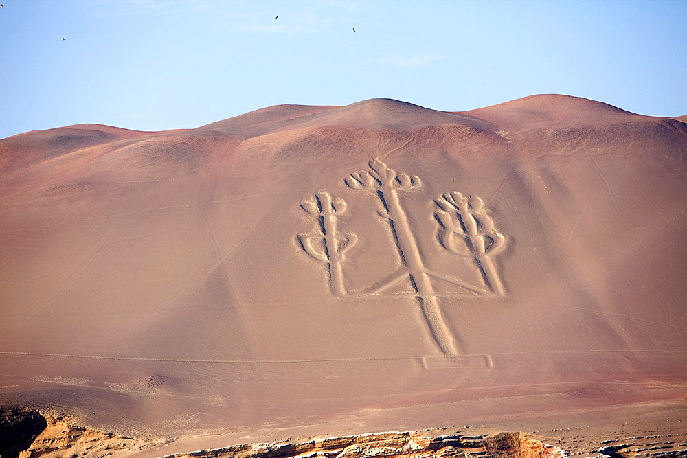 The Candelabra Geoglyph, Landscape in Paracas National Park, Peru