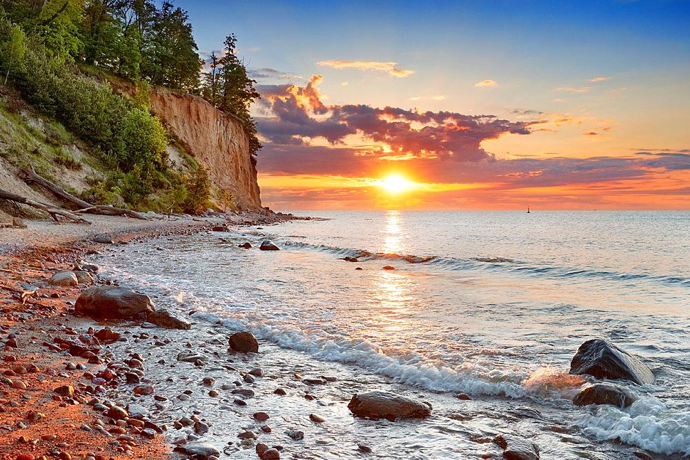 Sunrise at Baltic sea, Gdynia-Orlowo, Poland, Europe
