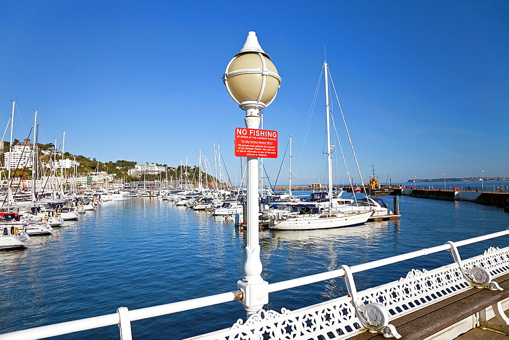 England Devon Torquay Princess Pier with Lamp and No Fishing notice