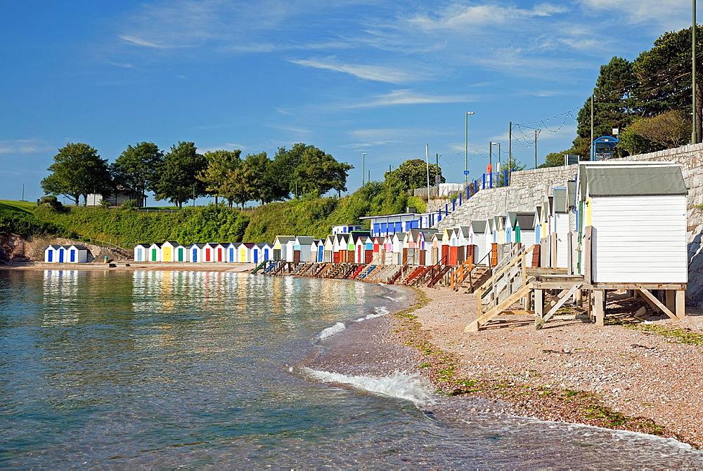 England Devon Torquay Corbyn's Beach with beach huts