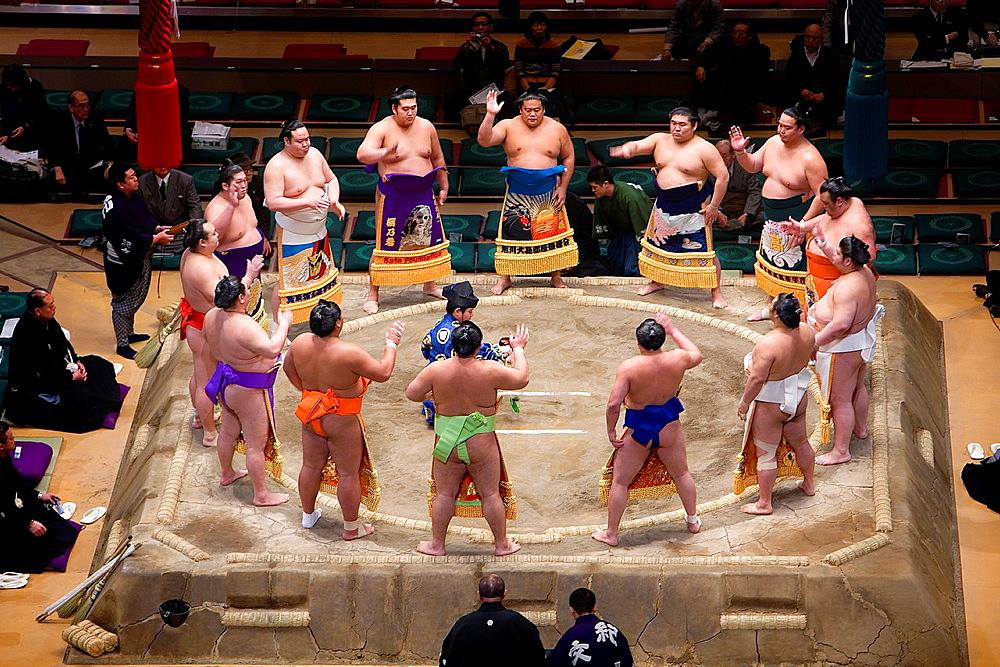 Sumo tournament in Ryogoku kokugikan stadium, Tokyo city, Japan