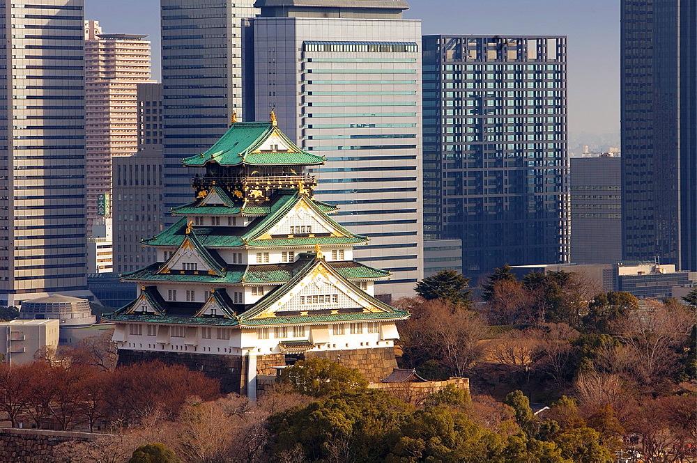 Osaka castle and Osaka Business Park, Osaka, Japan, Asia