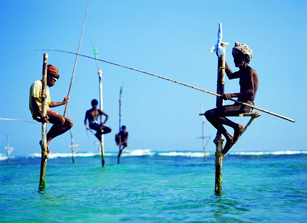 Stilt-fishermen, Ahamgama, Sri Lanka