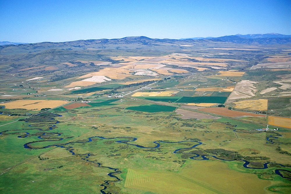 Aerial over the Livingston / Bozeman Valleys, MONTANA