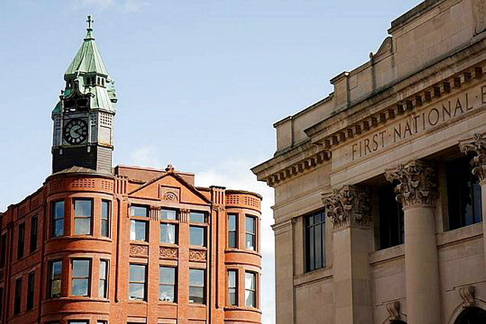 Michigan, Upper Peninsula, U P , UP, Lake Superior, Marquette, Washington Street, Old Savings Bank, Wells Fargo, historic, downtown, Old Savings Bank Building, 1891, red sandstone, clock tower, exterior, architecture,