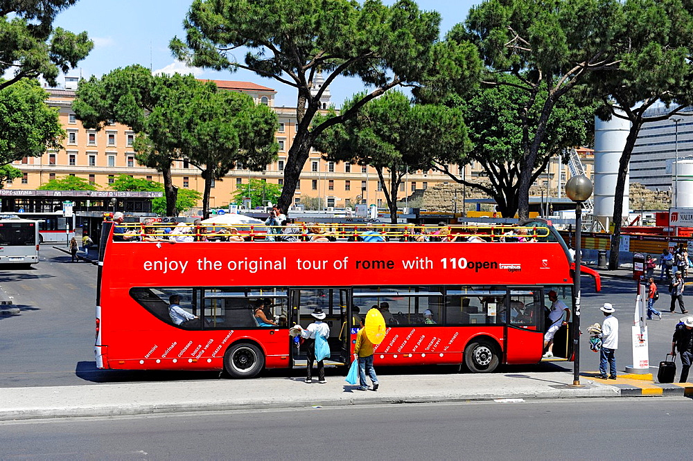 open air hop on off Tour bus views Rome Italy Europe