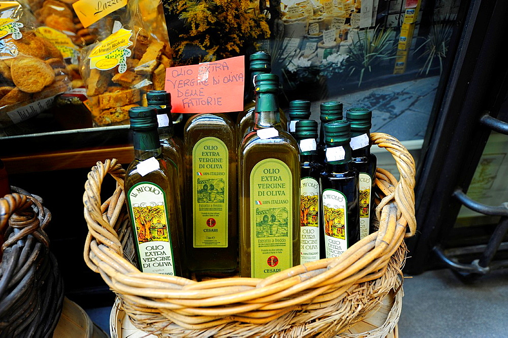 Virgin Olive Oil Display Shopping Stores Goods Lucca Italy Tuscany Europe Mediterranean