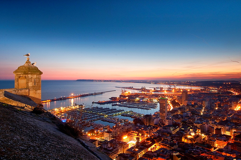 View of Alicante city from Santa Barbara Castle Alicante province, Valencian Community, Spain, Europe