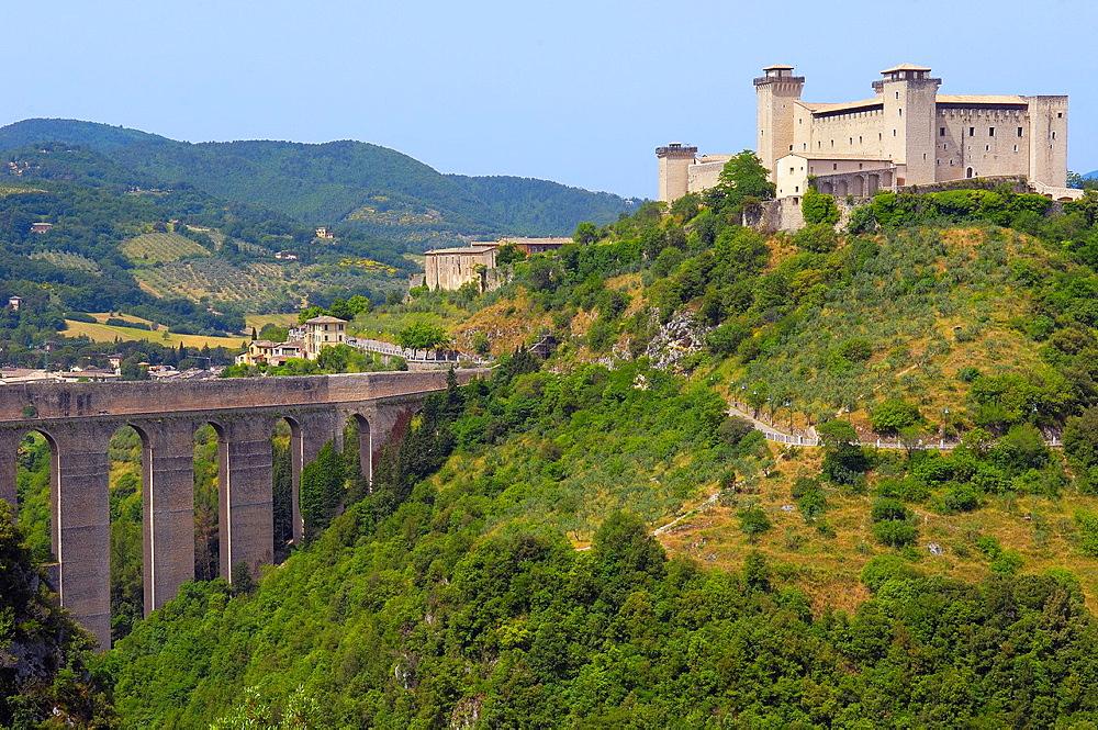 Spoleto, Albornoz Castle, Rocca Albornoz, Papal fortress, Umbria, Ponte delle torri, Tower Bridge, Italy, Europe