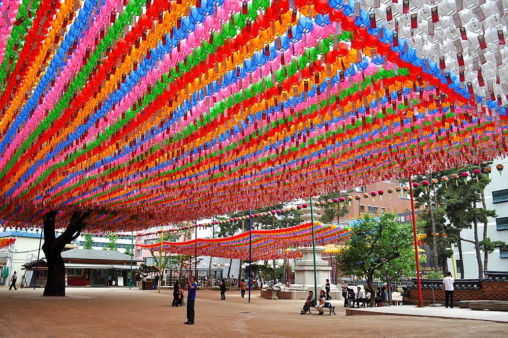 South Korea, Seoul, colored lamps at the Jogyesa Temple