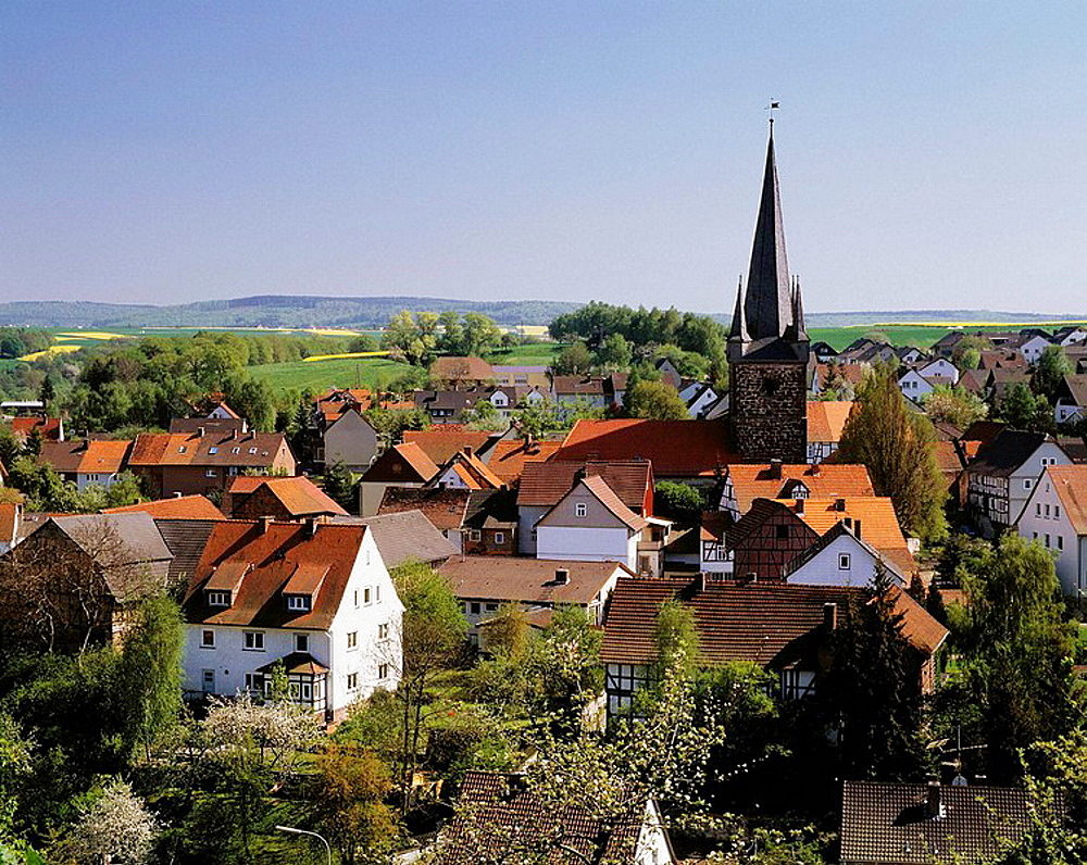 Germany, Edermuende, Eder, Fulda, Langen mountains, Hessian mountainous country, Schwalm-Eder district, Hesse, Edermuende-Grifte, panoramic view of Grifte with its Late Gothic church tower, former defence tower