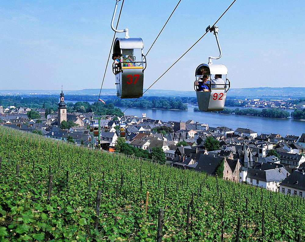 Germany, Ruedesheim, Rhine, Hesse, city view, parish church Saint Jacob, panoramic view, vineyards, Rhine landscape, cable railway to the Niederwald monument, tourists, UNESCO, Welterbe, Weltkulturerbe, UNESCO World Heritage Site