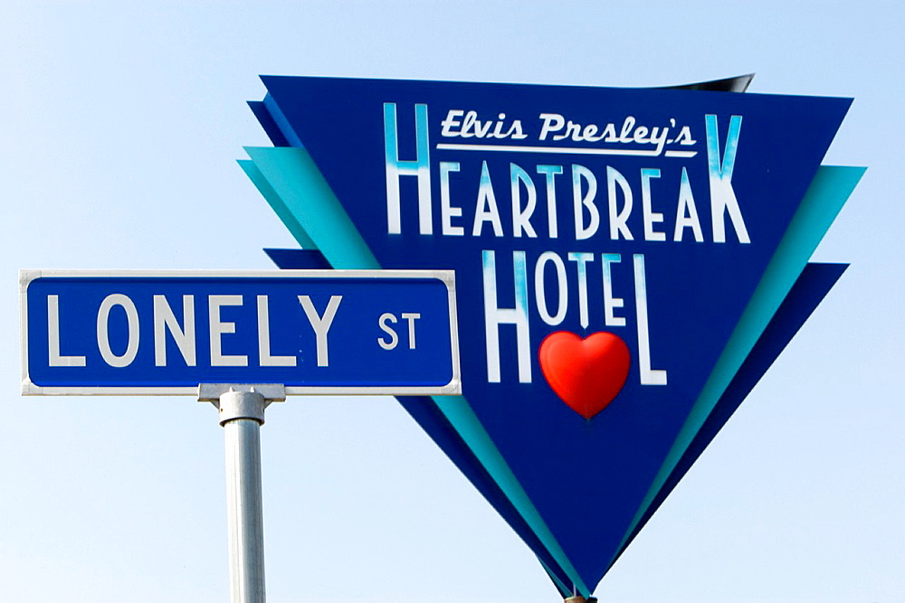 Heartbreak Hotel sign on Lonely Street Memphis USA