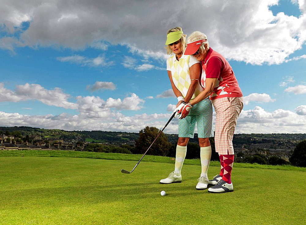 Mature ladies learning to playing golf, Mature ladies learning to playing golf