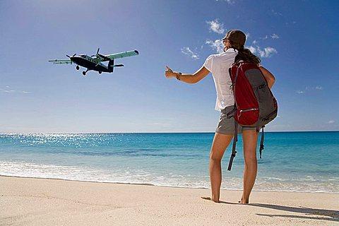 Woman Hitching Light Aircraft
