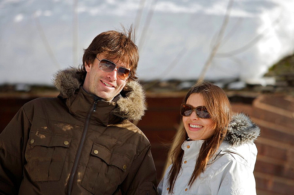Couple in casual ski wear, Couple in casual ski wear