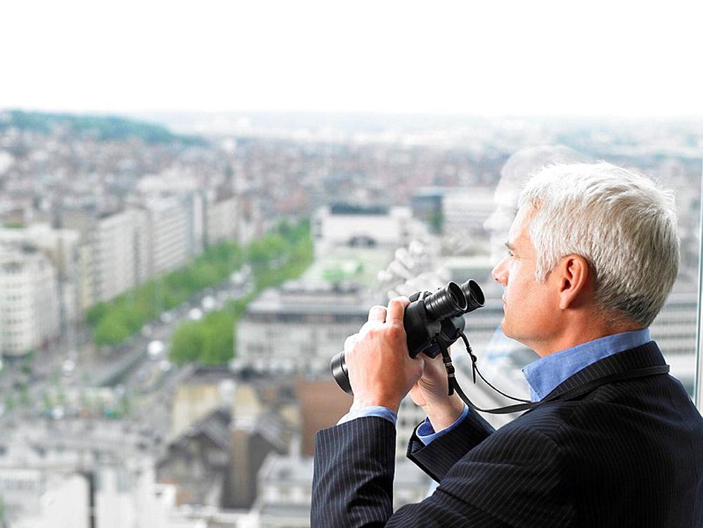 Man with binoculars, Man with binoculars