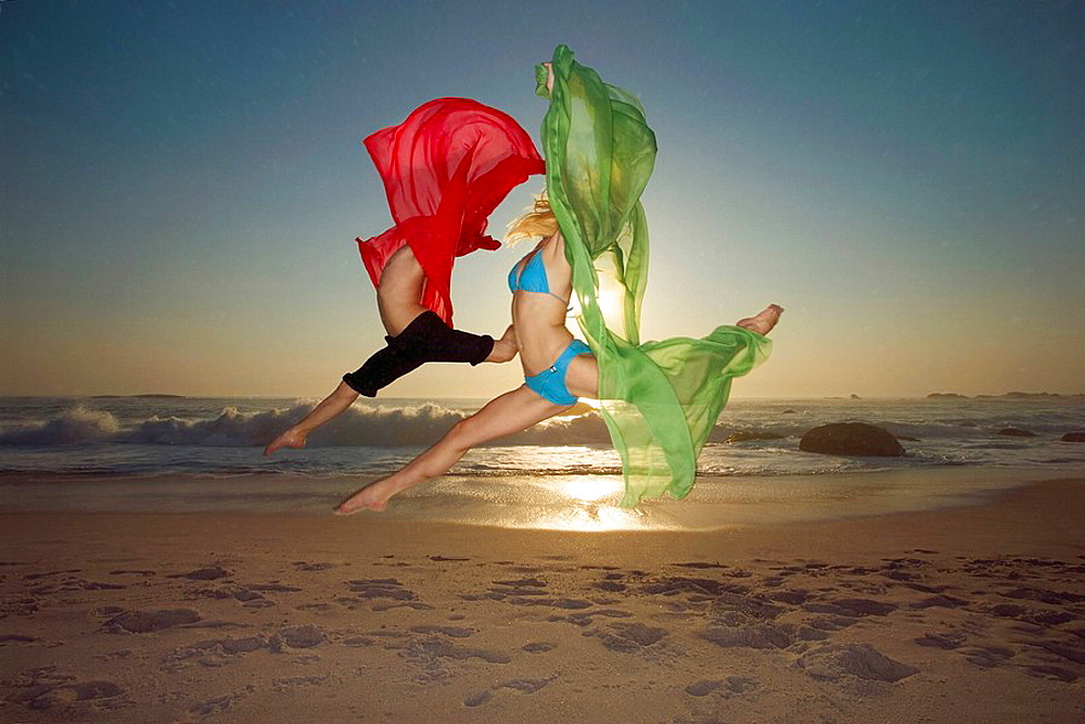 Dancers leaping on a beach, Dancers leaping on a beach