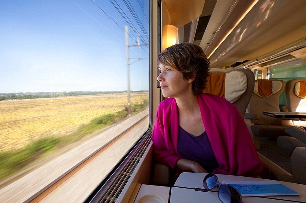 A woman on train, A woman on train