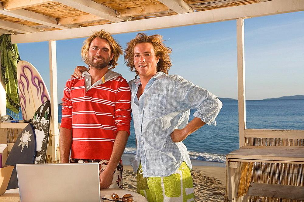 portrait young men at beach house, portrait young men at beach house