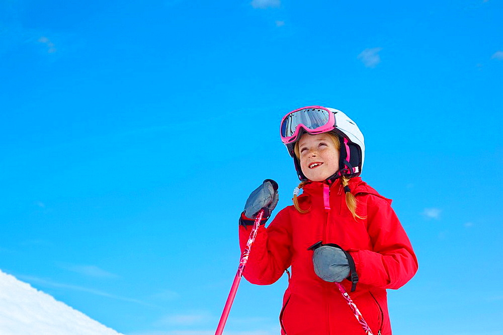Girl skiing, blue sky, Girl skiing, blue sky