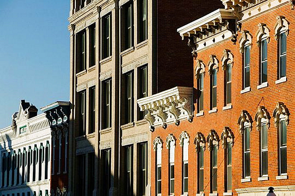 Architecture along Main Street, Dubuque, Iowa, United States of America