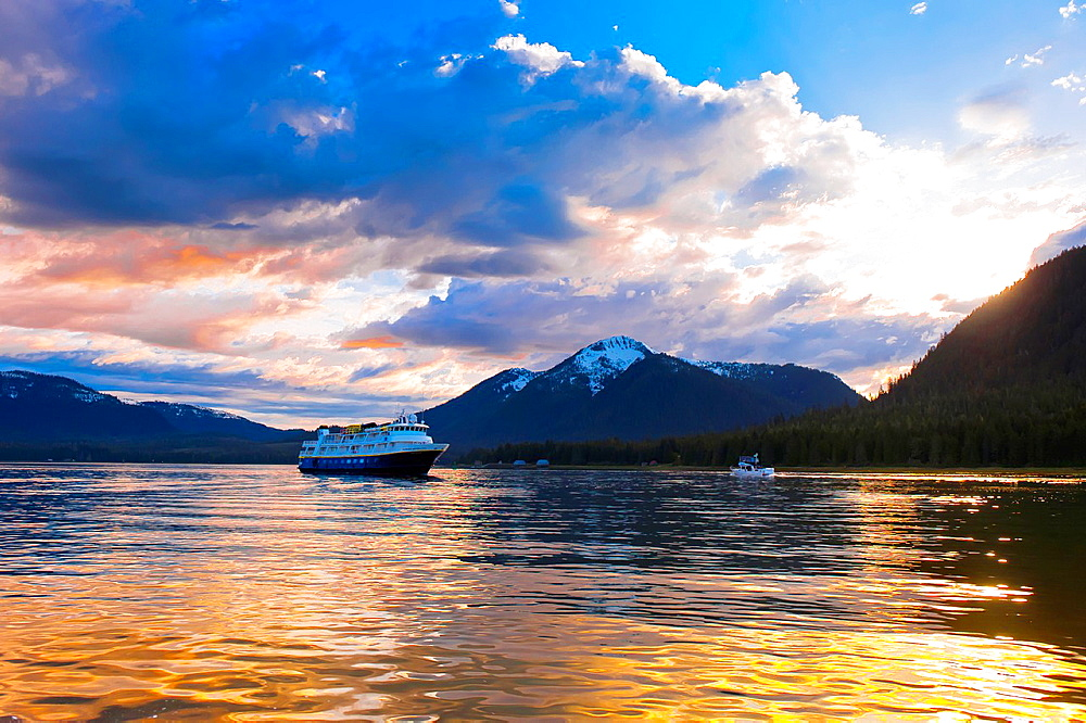 National Geographic Sea Bird Lindblad Expeditions small cruise ship, Wrangell Narrows on the Inside Passage, Petersburg, Southeast Alaska USA