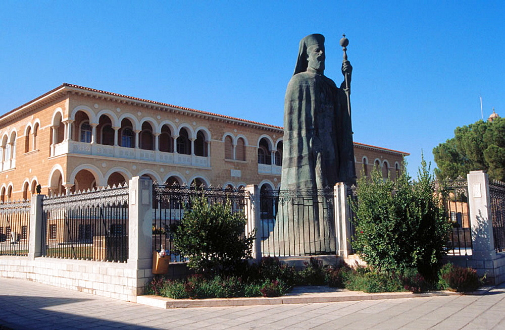 Statue of Makarios III, archbishop and primate of the Orthodox Church of Cyprus, Nicosia, Cyprus