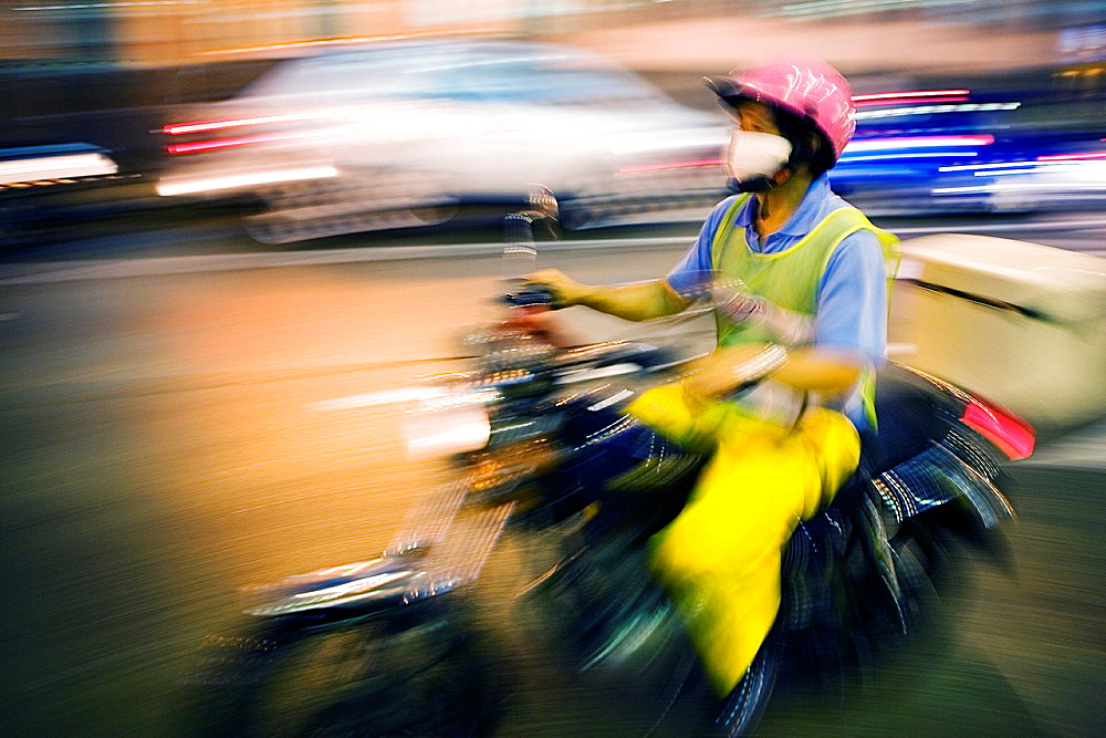 Motorcycle in Praia Grande Avenue, Macau, China