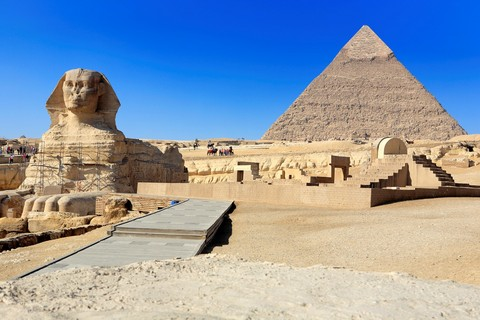 Great pyramids and Sphynx, Giza, Egypt