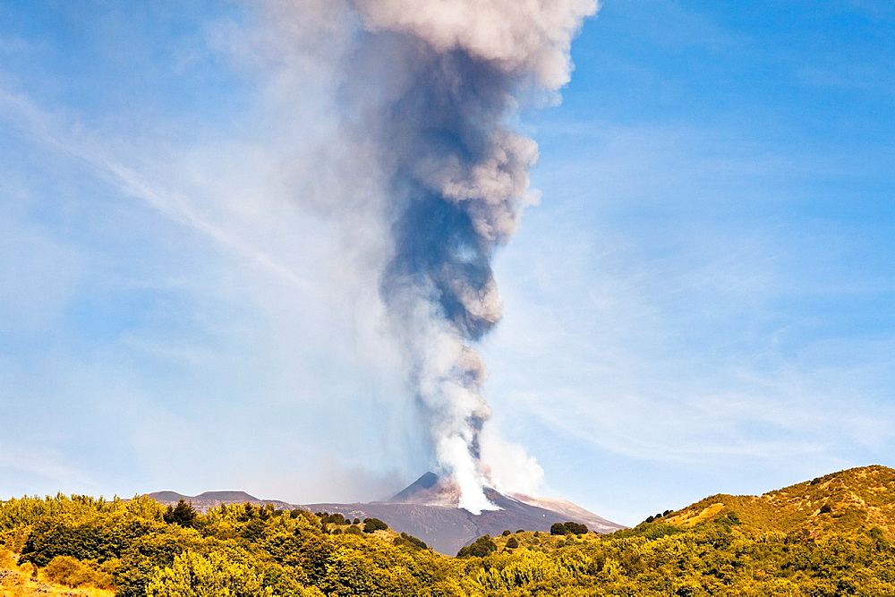Mount Etna erupting on 8th September 2011, Sicily, Italy