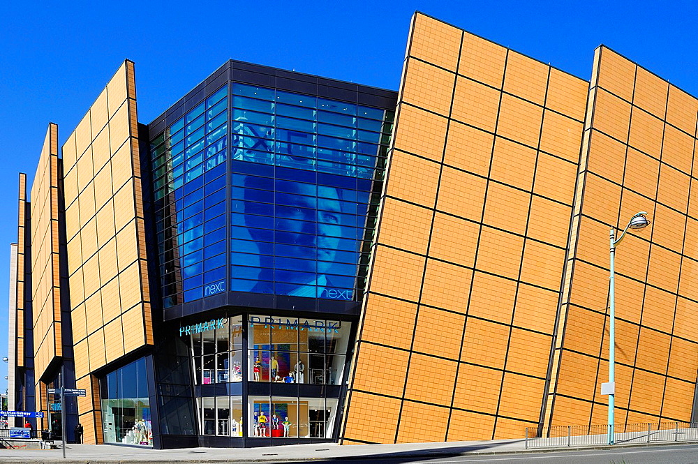 the modern design of the 'drakes circus ' shopping complex at plymouth, devon, england, uk