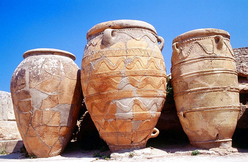 'Pithoi' ceramic jars at Palace of Knossos near Heraklion, Crete, Greece