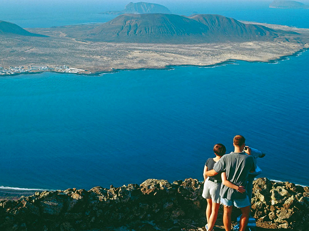 Graciosa island as seen from Lanzarote, Canary Islands, Spain