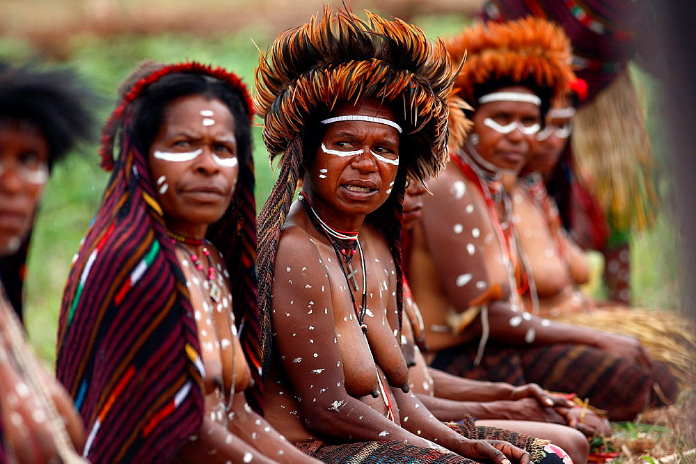 Local group of nacked Papua women joing the Baliem Valley festival and sitting in the grass in traditional appearance with sharp focus on one woman only, Jayawijaya region, Papua, Indonesia, Southeast Asia