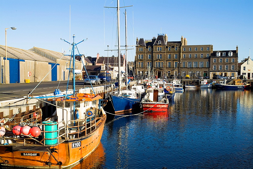 Kirkwall harbour KIRKWALL ORKNEY Fishingboats at quayside Kirwkall Hotel