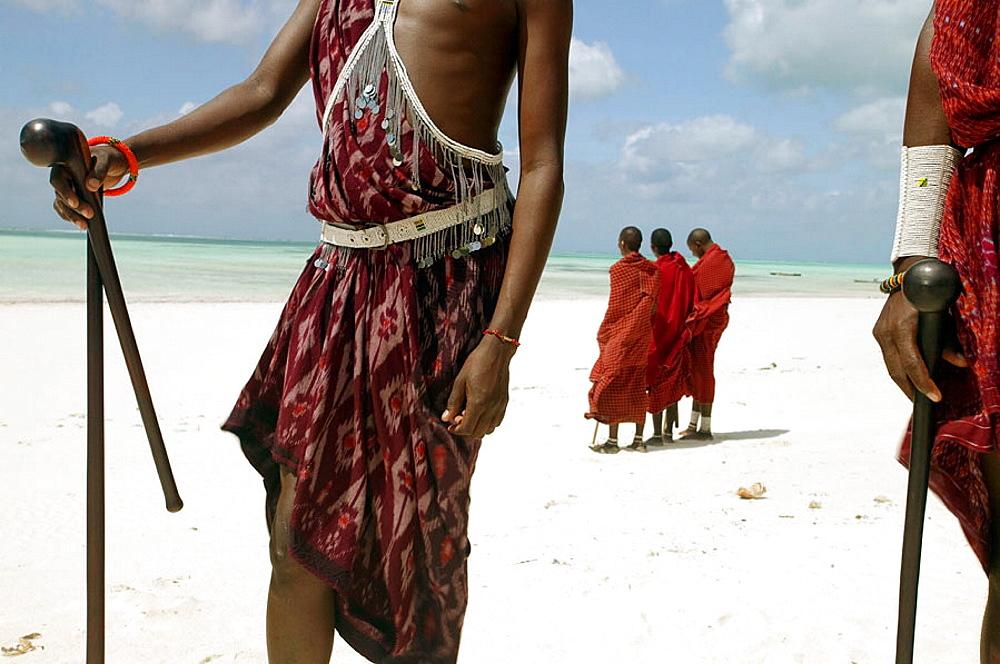 Masai people, Paje beach, Zanzibar Island, Tanzania