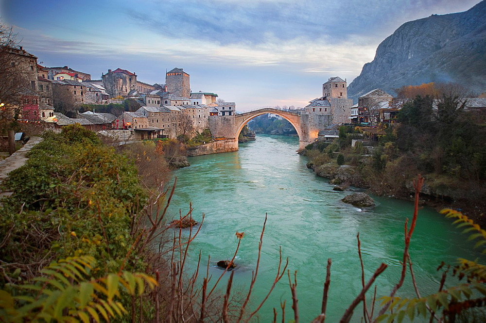 Bridge Stari Most or ????? ???? joining the two halves of the city of Mostar in Bosnia-Herzegovina
