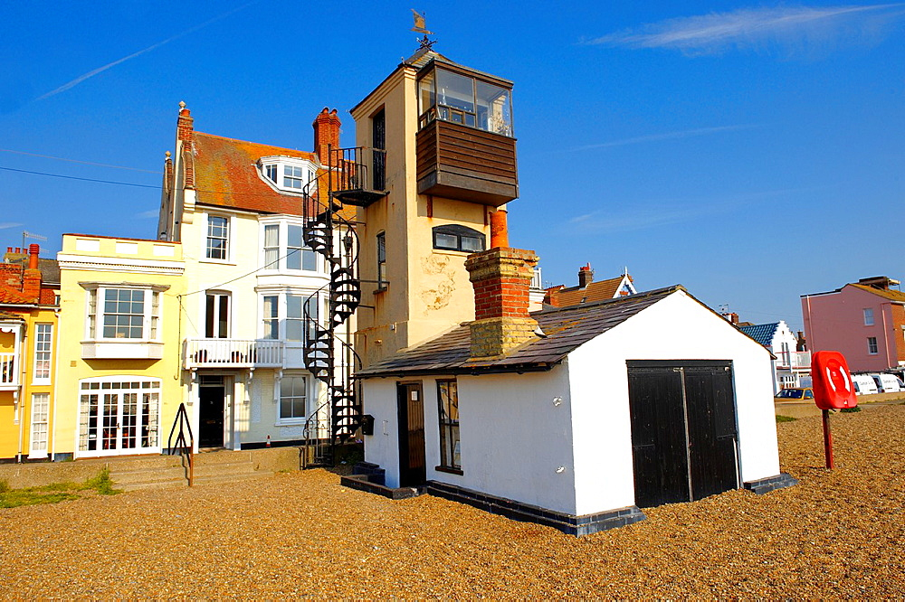Fisherman's lookout on Aldeburgh beach, Suffolk, England