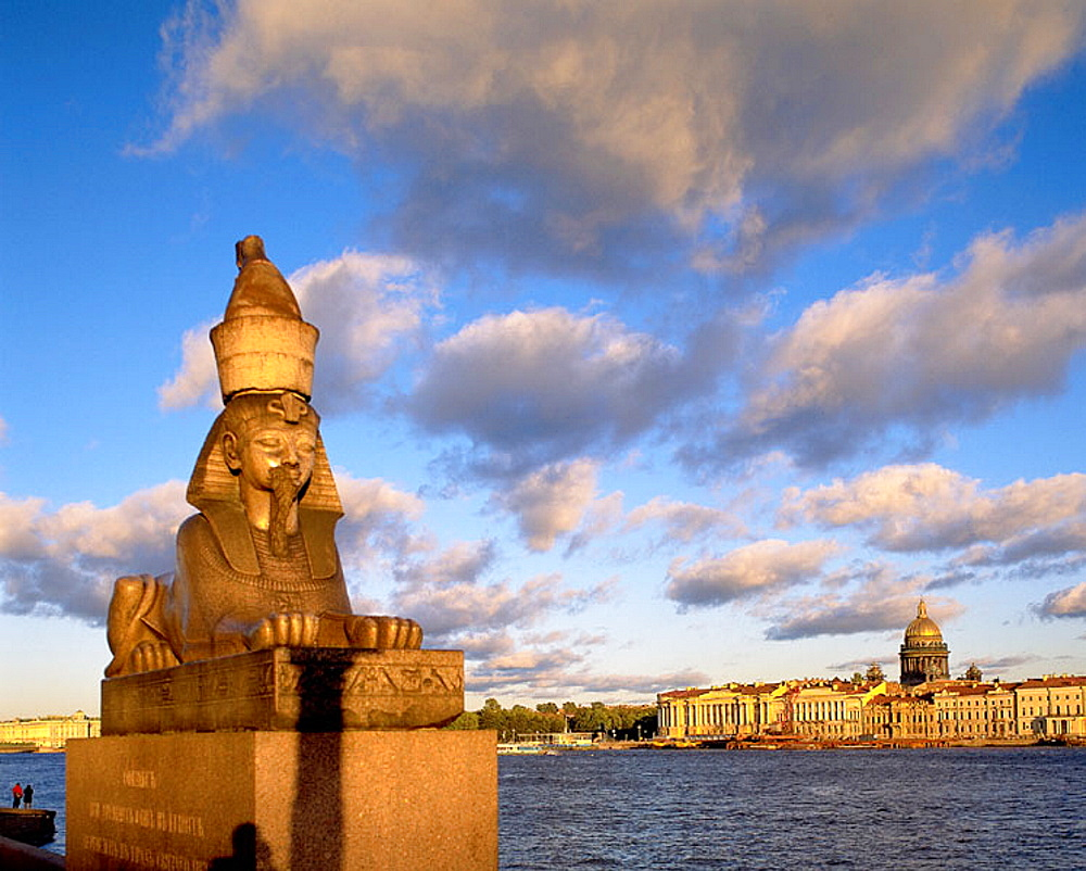 Sphinx and Neva River, St, Petersburg, Russia