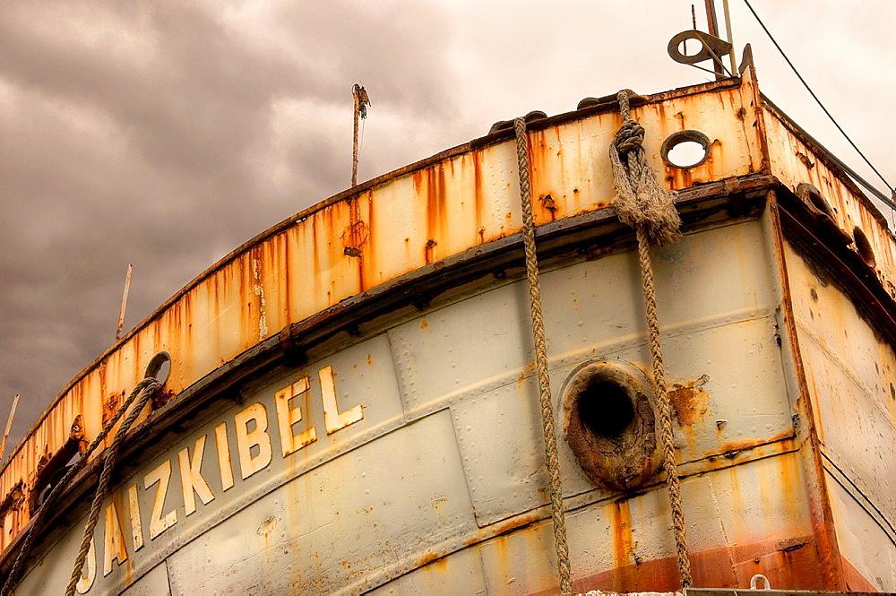 Detail of forecastle of Jaizkibel bucket-dredger, Ondartxo shipyard, in Pasaia Pasajes port, Gipuzkoa, Basque Country, Spain, Europe