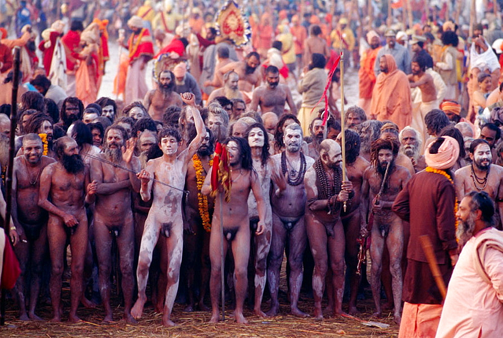 Procession of naked pilgrims going for a holy bath in Ganges River during Khumb Mela Festival (2001), Allahabad, Uttar Pradesh, India - 817-35639