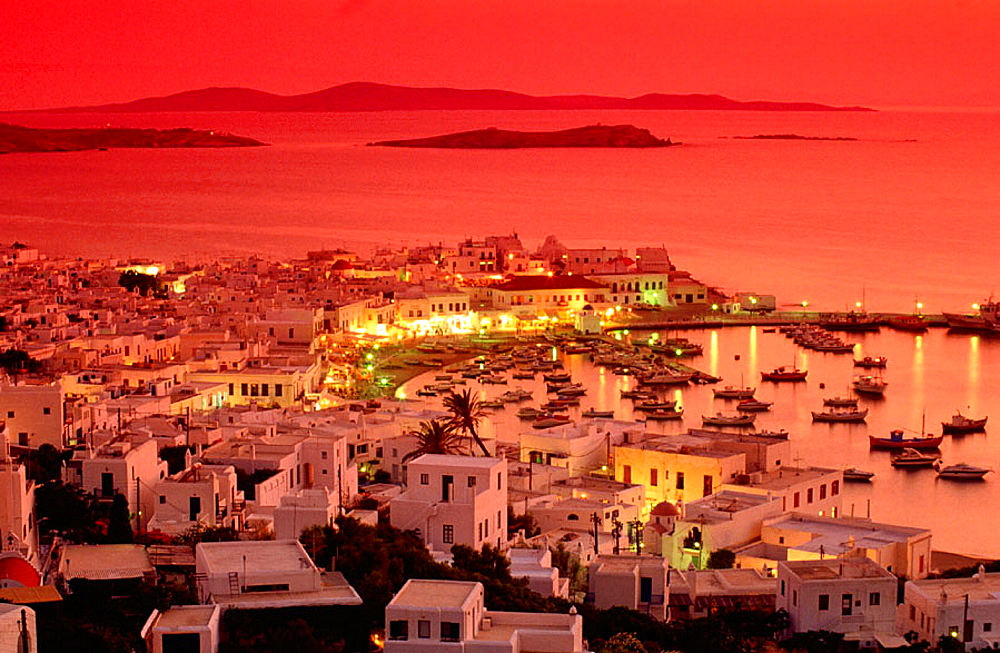 Red sky at sunset in Mykonos, Greece
