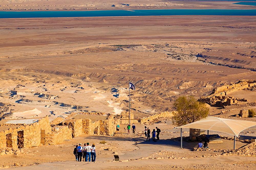 Israel, Dead Sea, Masada, ruins at the Masada plateau