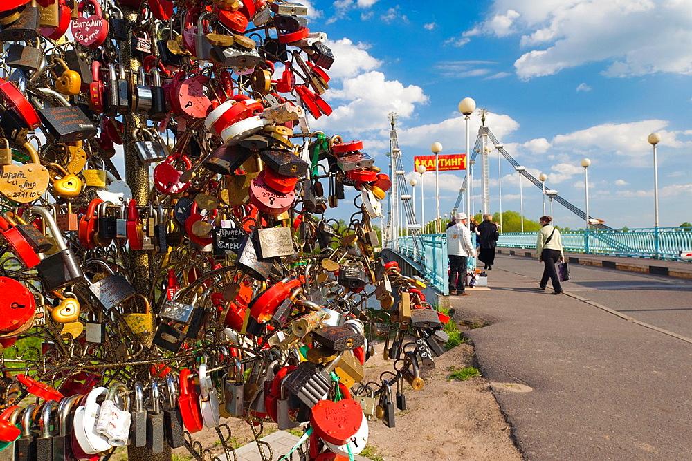 Russia, Yaroslavl Oblast, Golden Ring, Yaroslavl, Volga Riverfront, Love Locks at the town park