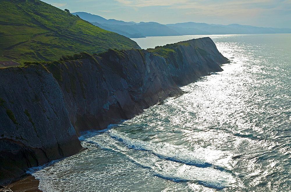 Flysch, Zumaia beach, Zumaia, Gipuzkoa, The Basque Country, The Bay of Byscay, Spain, Europe.